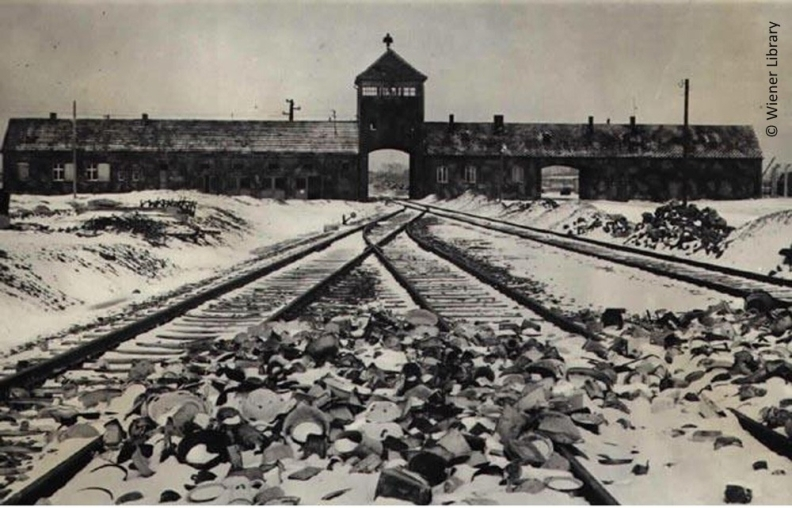 Image to the entrance at Auschwitz-Birkenau