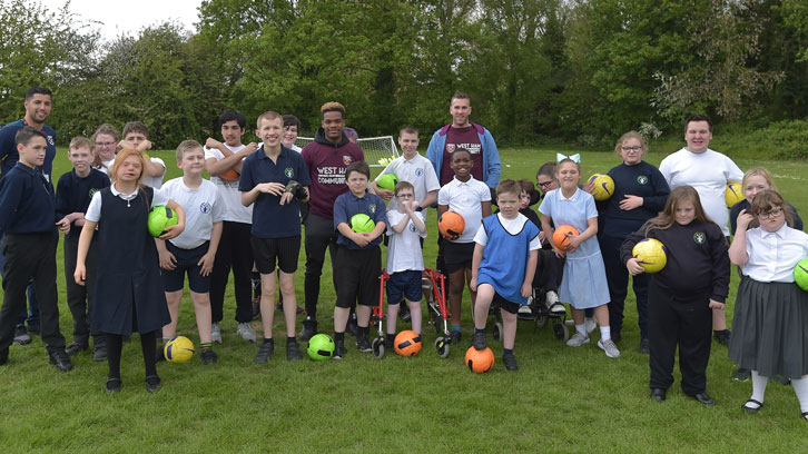 Veggie Run pupils are paid a surprise visit by West Ham United players