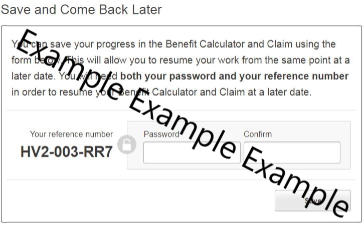 Benefit online application form password box example