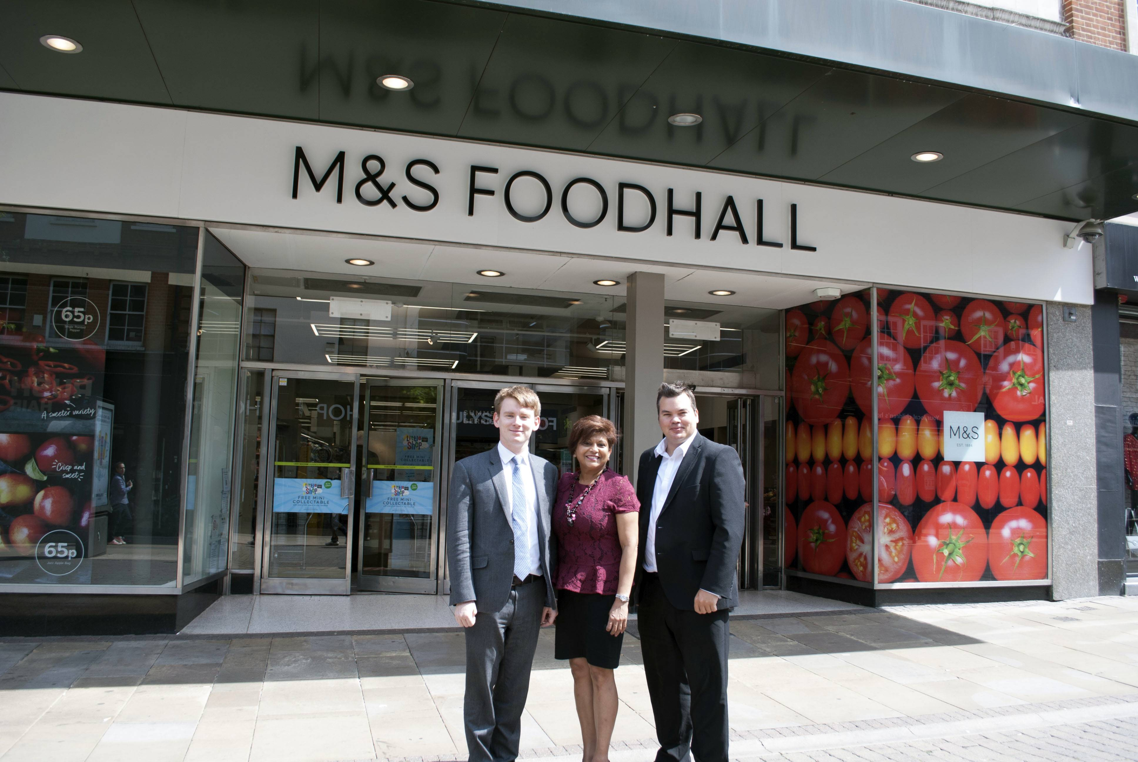 Cllrs White, Persaud and Benham outside M&S South Street, Romford