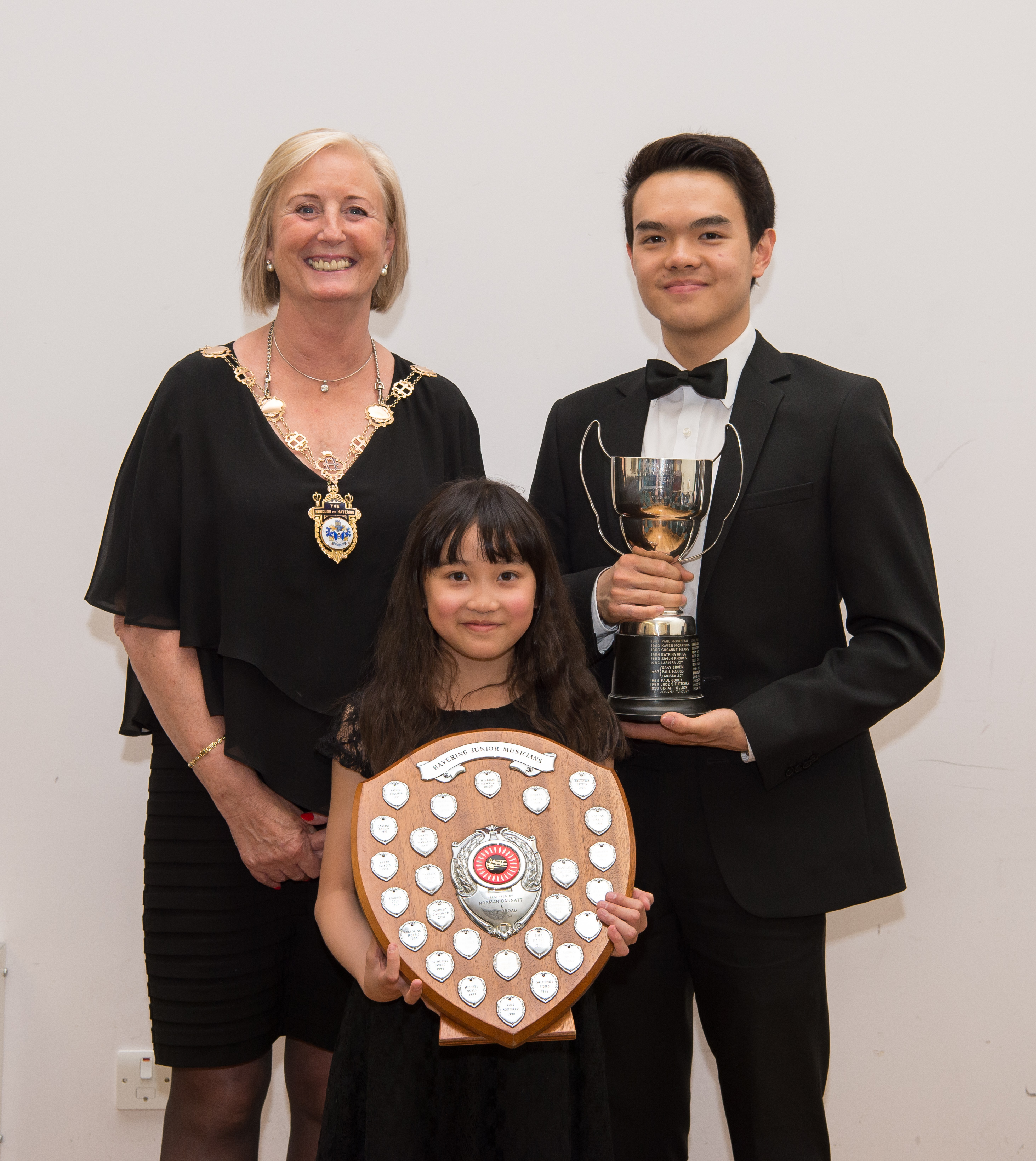 Former Mayor of Havering Councillor Crowder with Keenan Ngo and Caitlin Chan