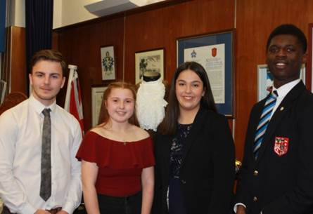 From left to right former MYP Eddie O' Sullivan new MYP's Emily Thompson and Sila Urgulu and Former MYP Victor Sarpong