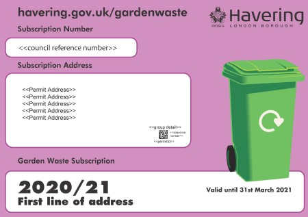 Garden waste service 2020 to 2021 bin sticker