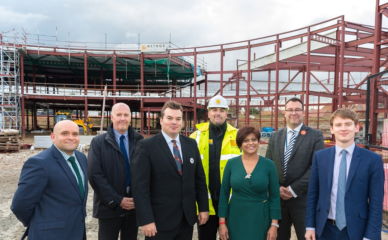 Councillors visit the new Hornchurch Sports Centre alongside Chief Executive of Havering Council Andrew Blake Herbert and staff from Havering Council, Everyone Active, and Metnor Construction