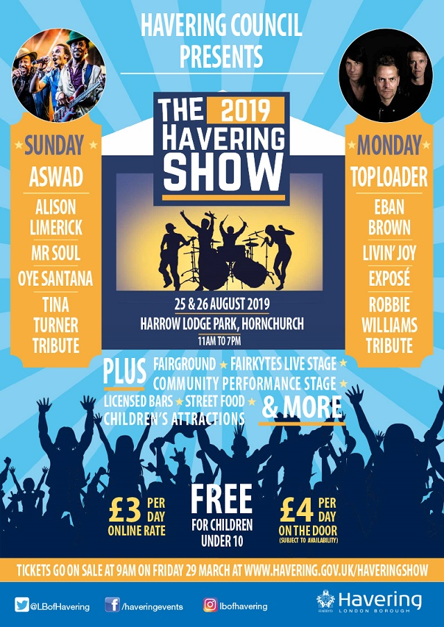 Havering Show 2019 line up poster
