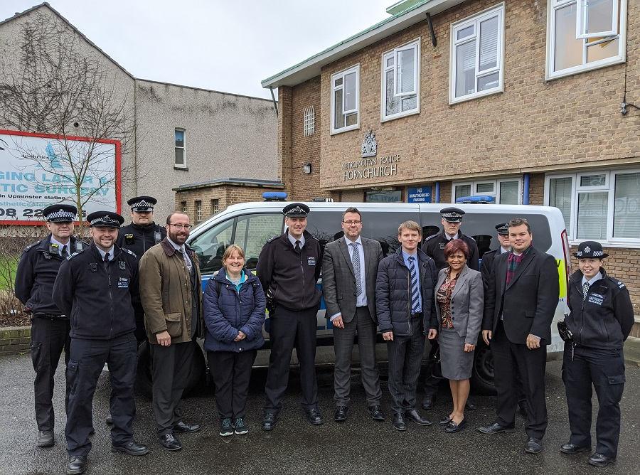 Police and Councillors meet outside Hornchurch Police Station