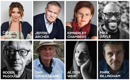 Portraits of Candice Brown, Jeffrey Archer, Alison Weir, Kimberley Chambers, Mike Gayle, Roger McGough, Dan Cruickshank, Alison Weir and Mark Billingham