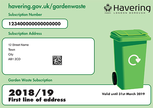 Havering garden waste service bin sticker example