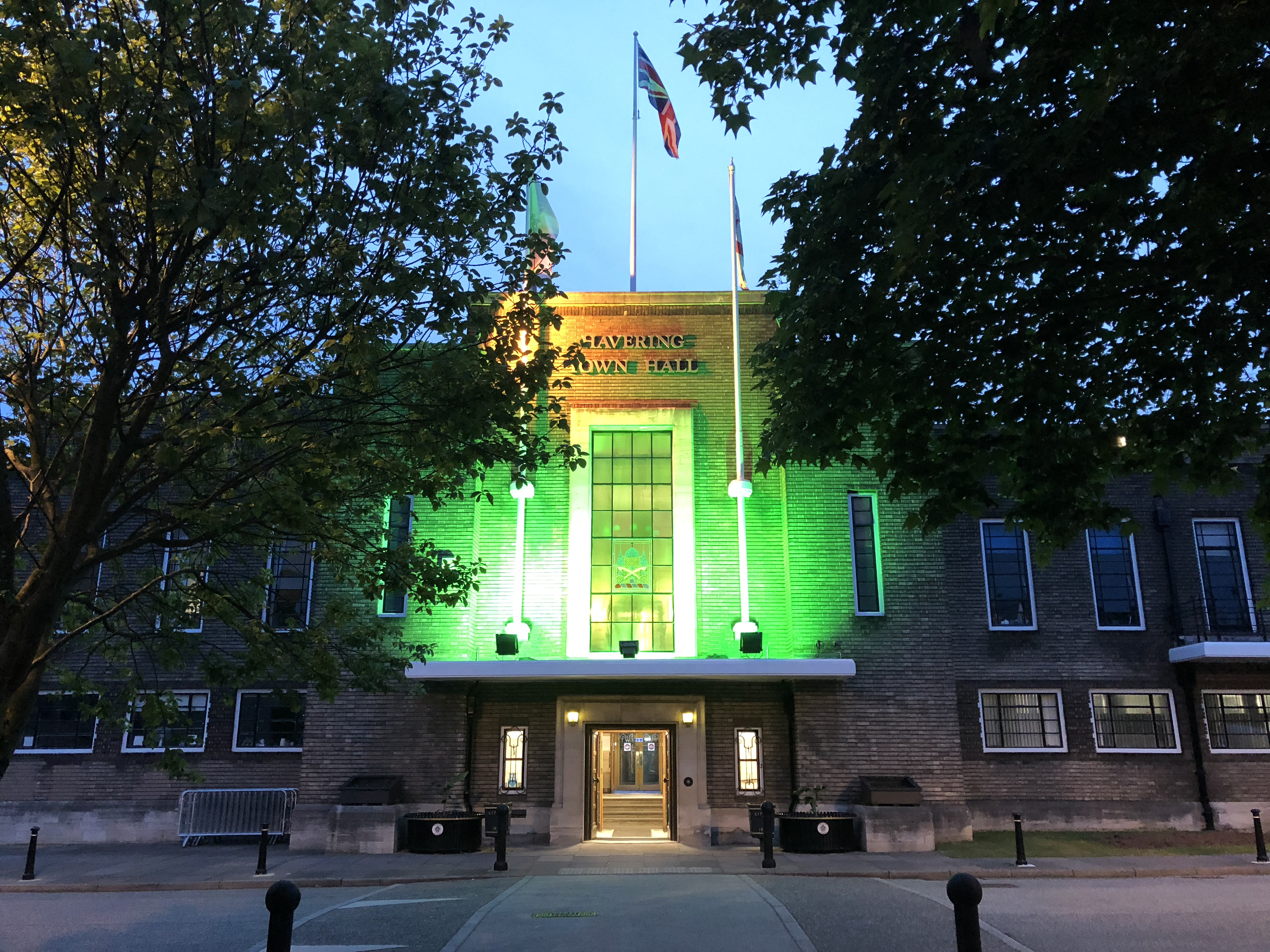 Town Hall lit green in memory of Grenfell
