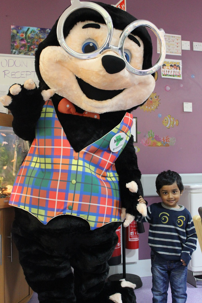Miles the mole meets children on the OPD ward