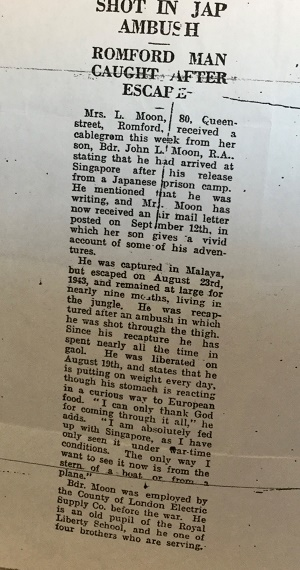 John Moon newspaper cutting