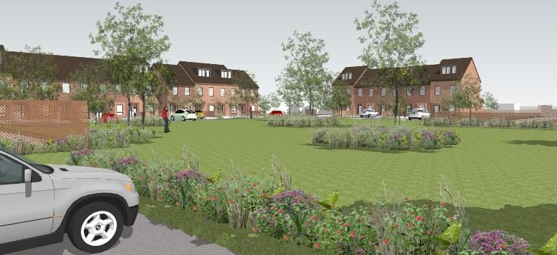 Artist's impression of new housing development