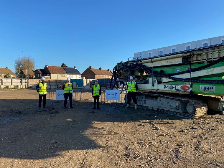 The Leader of Havering Council, Cllr Damian White, was joined by Wates Residential's Regional Development Director, Hugh Jeffery, and members of the developer's construction site management team.