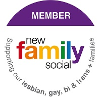 Badge showing Havering Council is a member of the New Family Social agency - Supporting our lesbian, gay, bi and trans plus families