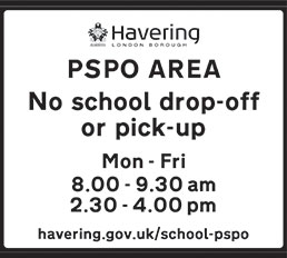 The Havering school PSPO sign