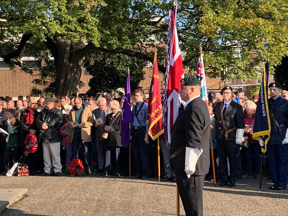 Standard Bearer at Remembrance Sunday 2019 in Coronation Gardens
