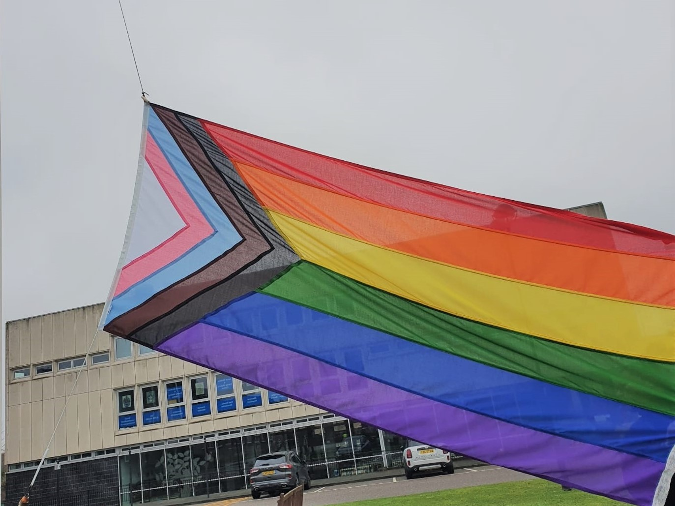 Progress Pride Flag being raised at Town Hall
