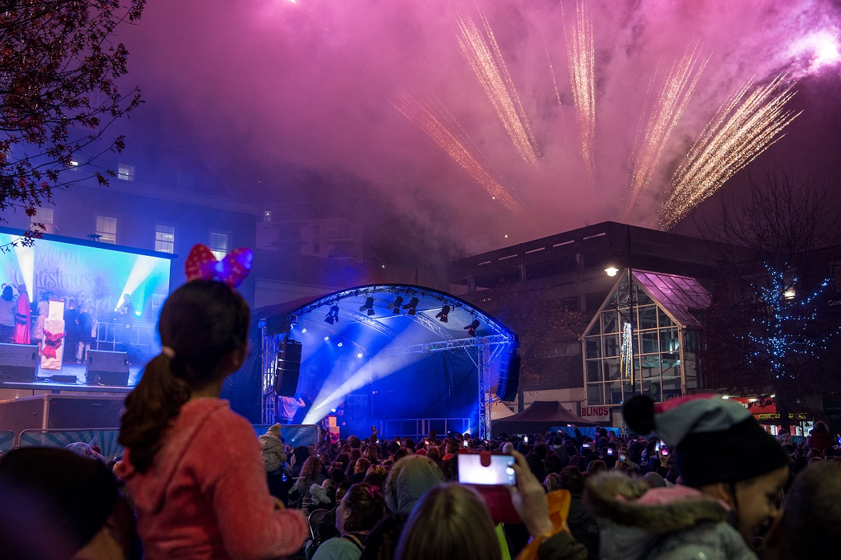 Christmas lights switch-on in Romford Market 2018