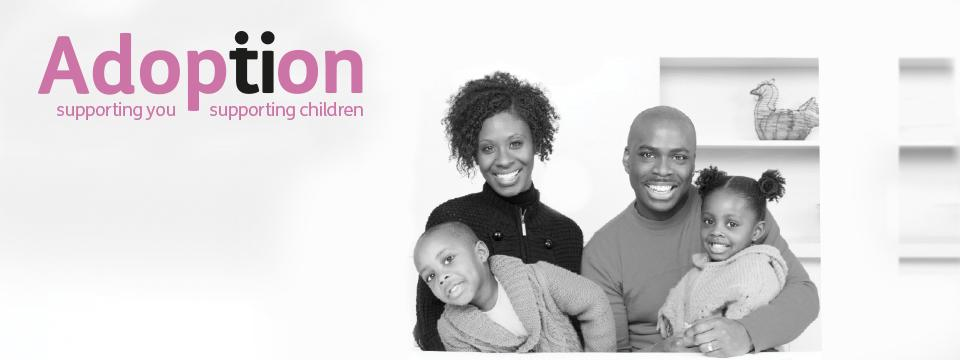 Adoption banner showing family