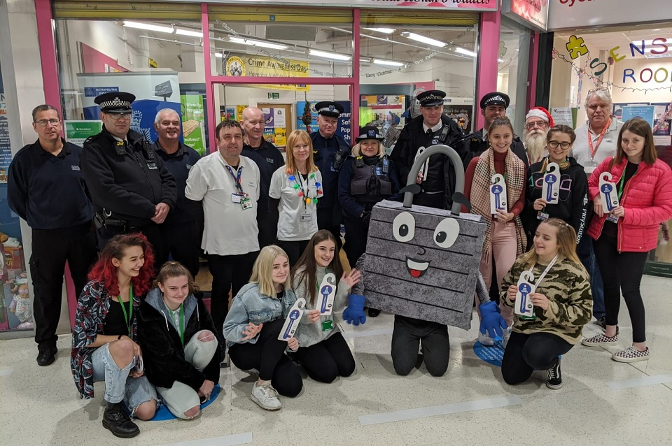 Council, police and other partners at the Christmas safety pop-up shop