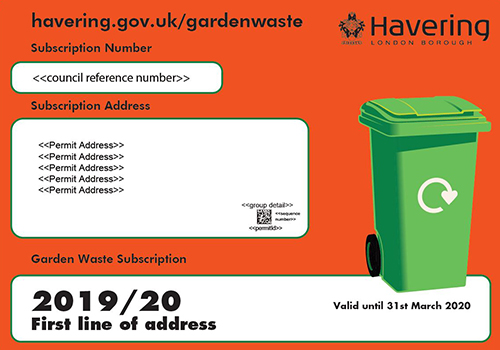 Example of the garden waste bin sticker for the 2019 to 2020 subscription period