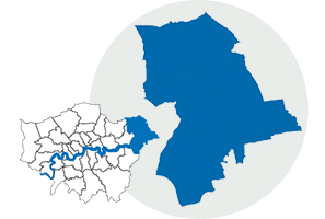 Image of map of London and the location of Havering.