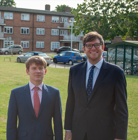 Councillor Damian White, Leader of Havering Council, and Councillor Joshua Chapman, Cabinet Member for Housing, visit Malan Square estate.